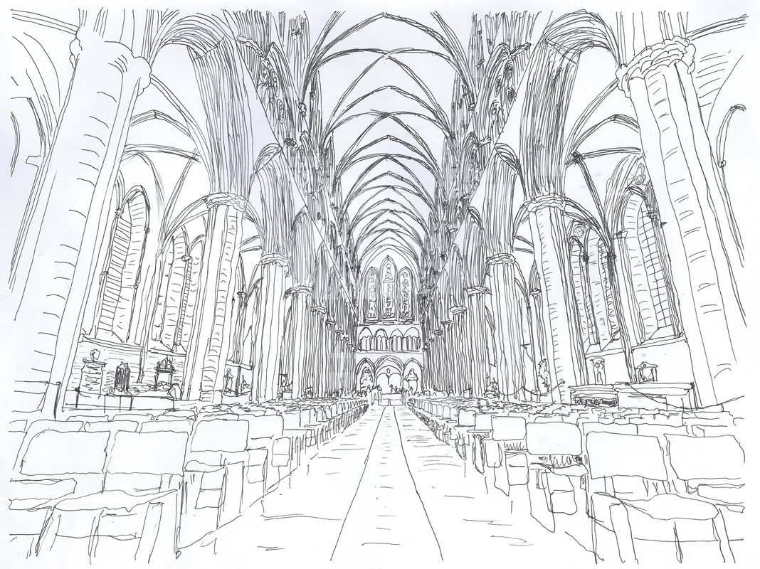 picture sketch of salisbury cathedral interior for architectural communications drawing portfolio